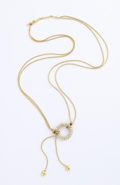 Jose Hess Gold Necklace with Love Knot Hearts and Diamond Circle - 1830998