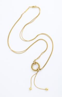 Jose Hess Gold Necklace with Love Knot Hearts and Diamond Circle - 1831003