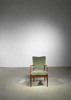 Josef Frank Josef Frank mahogany and velvet armchair - 1490806