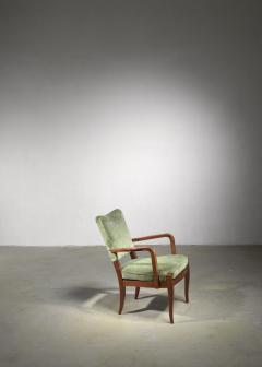 Josef Frank Josef Frank mahogany and velvet armchair - 1490807
