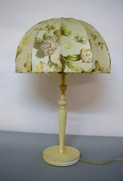 Josef Frank Large art deco table lamp with cream colored floral fabric screen - 1338479