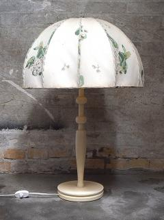 Josef Frank Large art deco table lamp with cream colored floral fabric screen - 1338507