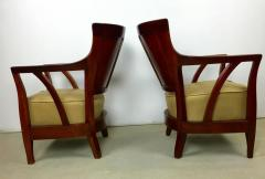 Josef Hoffmann Pair of Walnut and Leather Vienna Secessionist Club Chairs - 219078