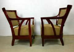 Josef Hoffmann Pair of Walnut and Leather Vienna Secessionist Club Chairs - 219081