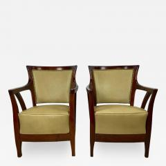 Josef Hoffmann Pair of Walnut and Leather Vienna Secessionist Club Chairs - 219176