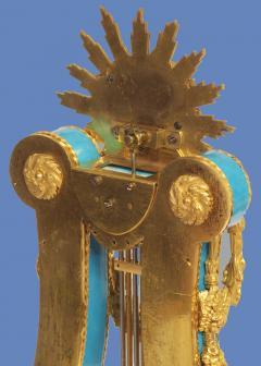 Joseph Dieudonn Kinable c 1820 Very Rare Ormolu and bleu turquoise Porcelain Lyre Clock - 1276310