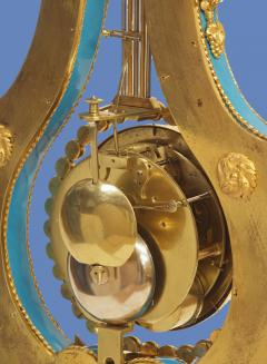 Joseph Dieudonn Kinable c 1820 Very Rare Ormolu and bleu turquoise Porcelain Lyre Clock - 1276314