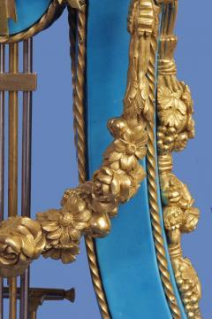Joseph Dieudonn Kinable c 1820 Very Rare Ormolu and bleu turquoise Porcelain Lyre Clock - 1276330
