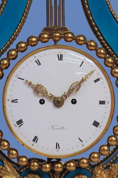 Joseph Dieudonn Kinable c 1820 Very Rare Ormolu and bleu turquoise Porcelain Lyre Clock - 1276331