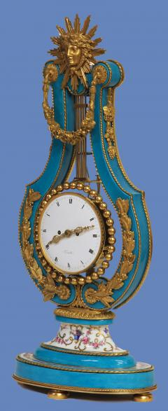 Joseph Dieudonn Kinable c 1820 Very Rare Ormolu and bleu turquoise Porcelain Lyre Clock - 1276334
