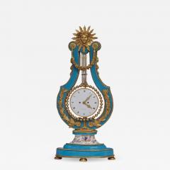 Joseph Dieudonn Kinable c 1820 Very Rare Ormolu and bleu turquoise Porcelain Lyre Clock - 1277551