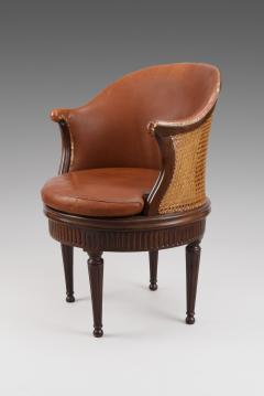 Joseph Gegenback dit Canabas Rare Turning Louis XVI Desk Chair with Original Leather Upholstery - 119825