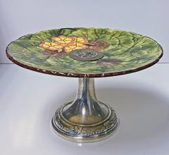Jugendstil Floral Majolica and Silver Plate Centerpiece Germany C 1900 - 1793320