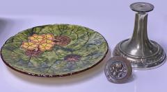 Jugendstil Floral Majolica and Silver Plate Centerpiece Germany C 1900 - 1793327