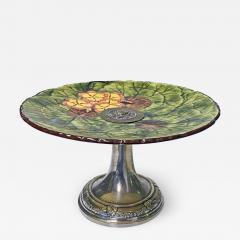Jugendstil Floral Majolica and Silver Plate Centerpiece Germany C 1900 - 1793911