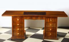 Jules Leleu Elegant art deco mahogany and gilt bronze desk by Jules Leleu - 1184284