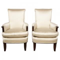 Jules Leleu Elegant pair of satin and walnut armchairs by Jules Leleu - 1397650