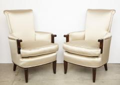 Jules Leleu Elegant pair of satin and walnut armchairs by Jules Leleu - 1397654