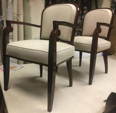 Jules Leleu Jules Leleu Chicest Rare Set of Six Dining Chairs Newly Covered - 374094