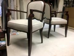 Jules Leleu Jules Leleu Chicest Rare Set of Six Dining Chairs Newly Covered - 374099