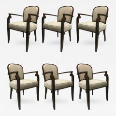 Jules Leleu Jules Leleu Chicest Rare Set of Six Dining Chairs Newly Covered - 374147
