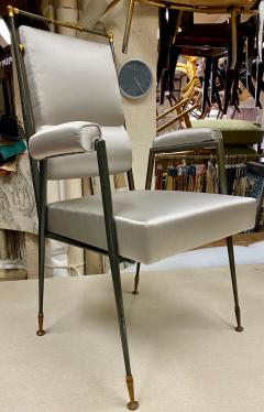 Jules Leleu Jules Leleu documented extreme refinement pair of chairs in bronze and silk - 1922097