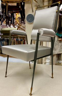 Jules Leleu Jules Leleu documented extreme refinement pair of chairs in bronze and silk - 1922179