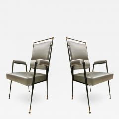 Jules Leleu Jules Leleu documented extreme refinement pair of chairs in bronze and silk - 1923711
