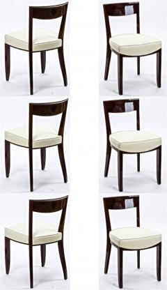Jules Leleu Jules Leleu exceptional set of 6 curved mahogany dinning chairs - 893080