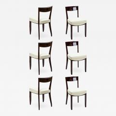 Jules Leleu Jules Leleu exceptional set of 6 curved mahogany dinning chairs - 894646