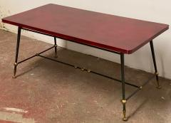 Jules Leleu Jules Leleu stamped red nuag lacquered coffee table with metal base - 1903276