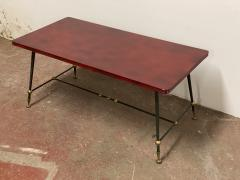 Jules Leleu Jules Leleu stamped red nuag lacquered coffee table with metal base - 1903278