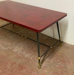 Jules Leleu Jules Leleu stamped red nuag lacquered coffee table with metal base - 1903279