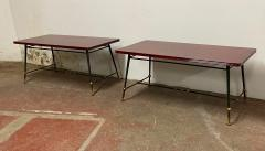 Jules Leleu Jules Leleu stamped red nuag lacquered coffee table with metal base - 1903282