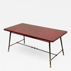 Jules Leleu Jules Leleu stamped red nuag lacquered coffee table with metal base - 1905049