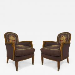 Jules Leleu Pair of French Art Deco Armchairs Bergeres with Tapestry Upholstery - 422411