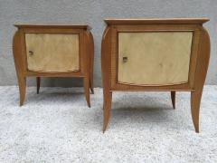 Jules Leleu Pair of French Parchment Sycamore End Tables or Nightstands Jules Leleu Style - 110695