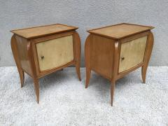 Jules Leleu Pair of French Parchment Sycamore End Tables or Nightstands Jules Leleu Style - 110696