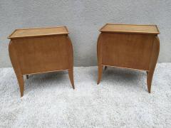 Jules Leleu Pair of French Parchment Sycamore End Tables or Nightstands Jules Leleu Style - 110697