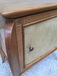 Jules Leleu Pair of French Parchment Sycamore End Tables or Nightstands Jules Leleu Style - 110700