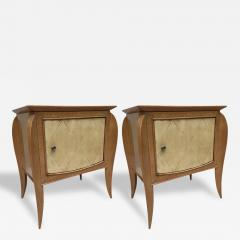 Jules Leleu Pair of French Parchment Sycamore End Tables or Nightstands Jules Leleu Style - 111660