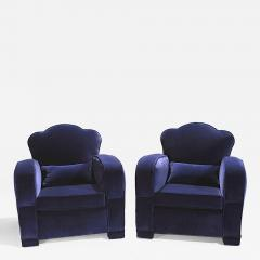 Jules Leleu Pair of french art deco velvet club armchairs 1940s - 988069
