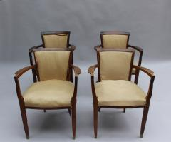 Jules Leleu Set of 4 Fine French Art Deco Walnut Bridge Armchairs by Jules Leleu - 431107