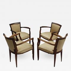 Jules Leleu Set of 4 Fine French Art Deco Walnut Bridge Armchairs by Jules Leleu - 432198