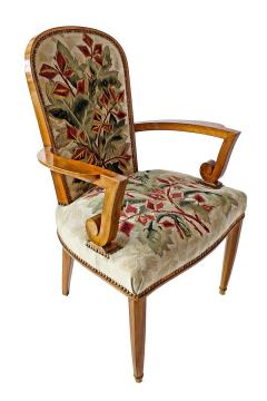 Jules Leleu Superb Set of 12 French Modern Fruitwood Tapestry Dining Chairs - 1063875