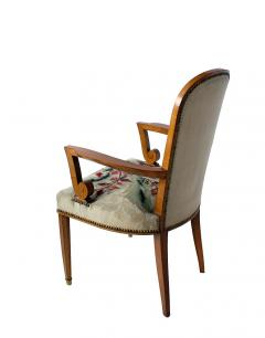 Jules Leleu Superb Set of 12 French Modern Fruitwood Tapestry Dining Chairs - 1063878