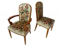 Jules Leleu Superb Set of 12 French Modern Fruitwood Tapestry Dining Chairs - 1063879