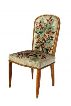 Jules Leleu Superb Set of 12 French Modern Fruitwood Tapestry Dining Chairs - 1063882