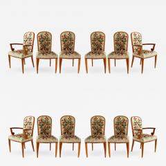 Jules Leleu Superb Set of 12 French Modern Fruitwood Tapestry Dining Chairs - 1131964