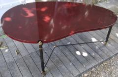 Jules Leleu rarest 50s boomerang forme libre red lacquered coffee table - 1574406